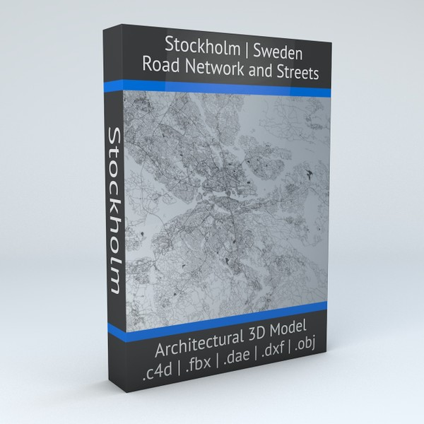 Stockholm Road Network and Streets 3D Architectural model