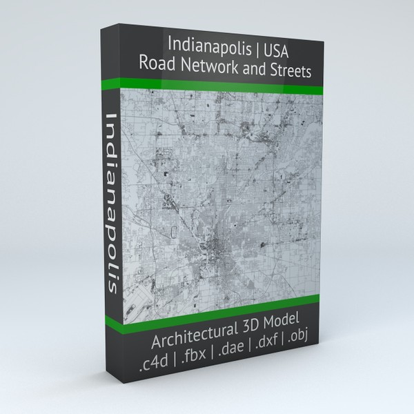 Indianapolis Road Network and Streets Architectural 3D model