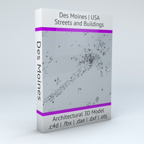 Des Moines Streets and Buildings Architectural 3D model