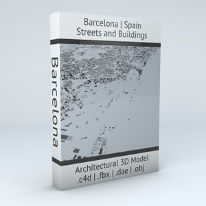 Barcelona Downtown Streets and Buildings Architectural 3D Model
