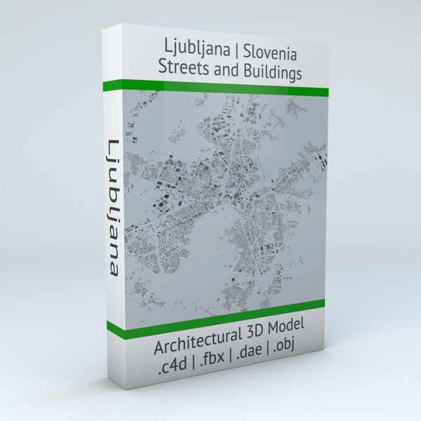 Ljubljana Streets and Buildings Architectural 3D Model