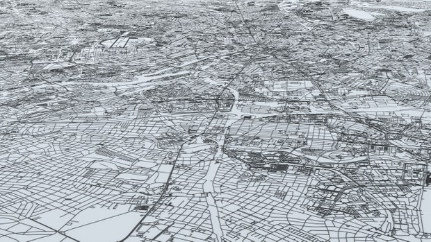 Berlin Road Network and Streets Architectural 3D model