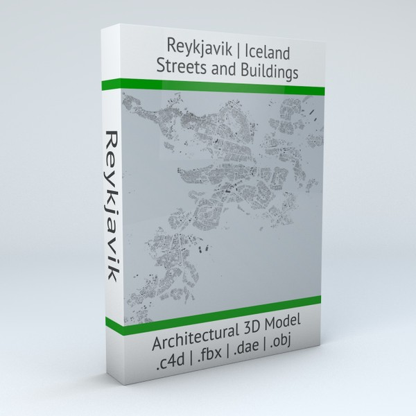 Reykjavik Streets and Buildings Architectural 3D Model