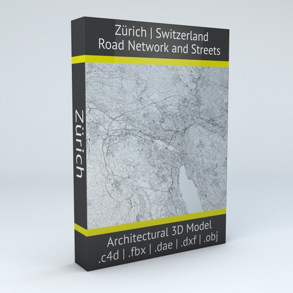 Zurich Road Network and Streets Architectural 3D model