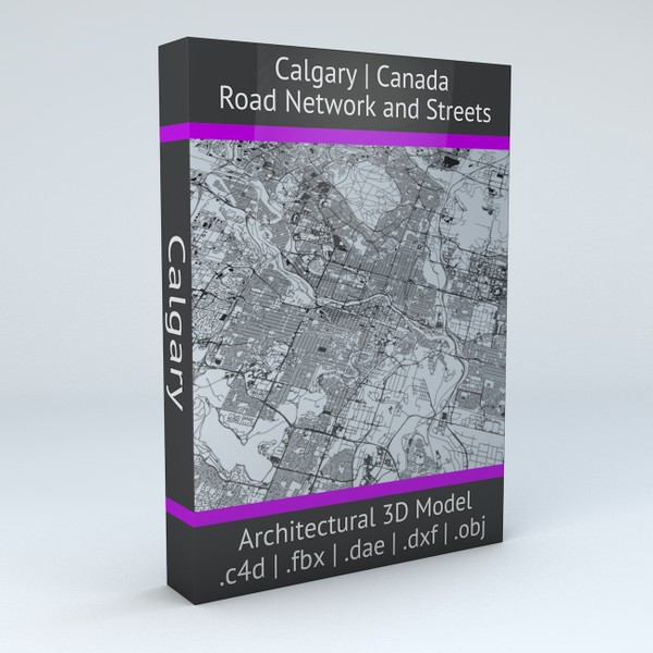 Calgary Road Network and Streets Architectural 3D model