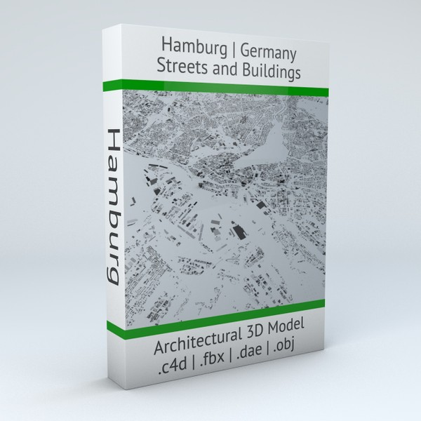 Hamburg Streets and Buildings Architectural 3D Model