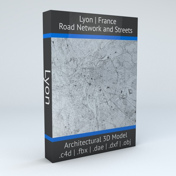 Lyon Road Network and Streets Architectural 3D model