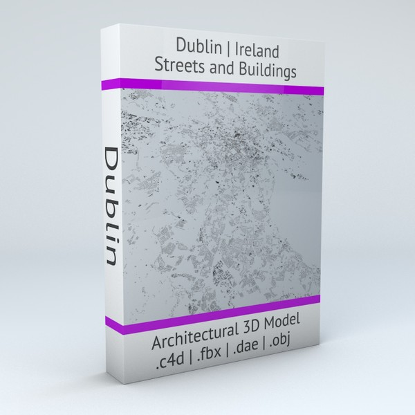Dublin Streets and Buildings Architectural 3D Model