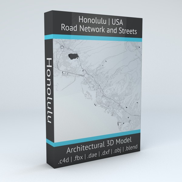Honolulu Road Network and Streets Architectural 3D model