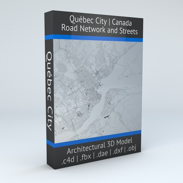 Quebec City Road Network and Streets Architectural 3D model