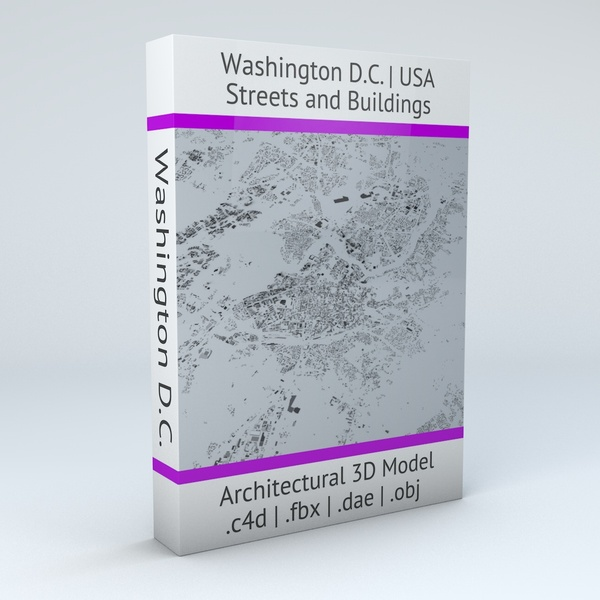 Washington DC Streets and Buildings Architectural 3D Model