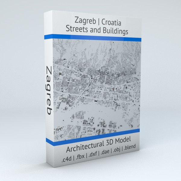 Zagreb Streets and Buildings Architectural 3D model