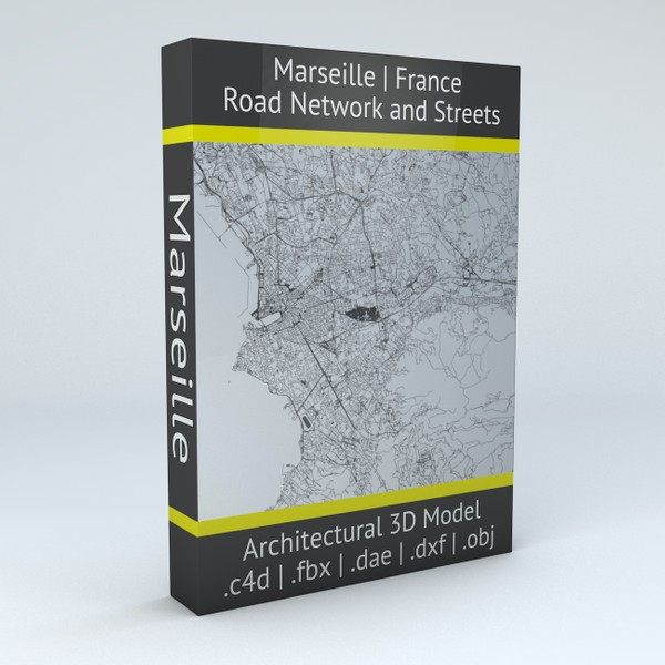 Marseille Road Network and Streets Architectural 3D model