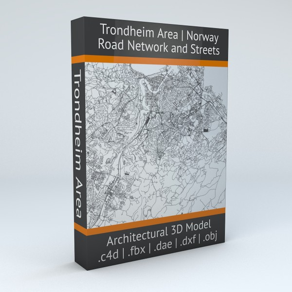 Trondheim Area Road Network and Streets Architectural 3D model