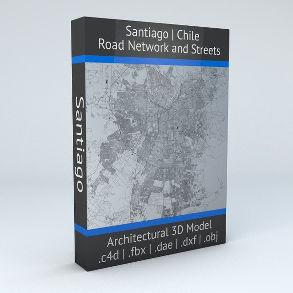 Santiago Area Road Network and Streets Architectural 3D model