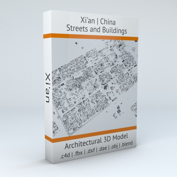 Xian Streets and Buildings 3D model
