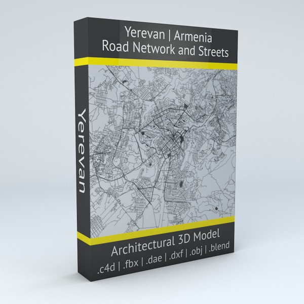 Yerevan Road Network and Streets 3D Model