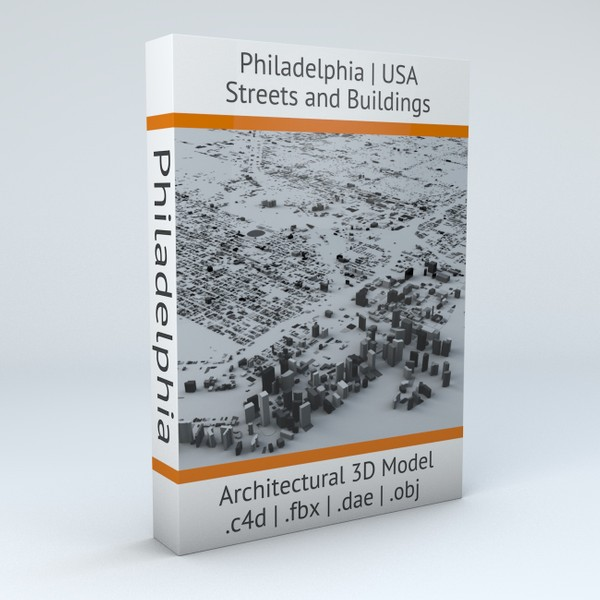 Philadelphia Downtown Streets and Buildings Architectural 3D Model