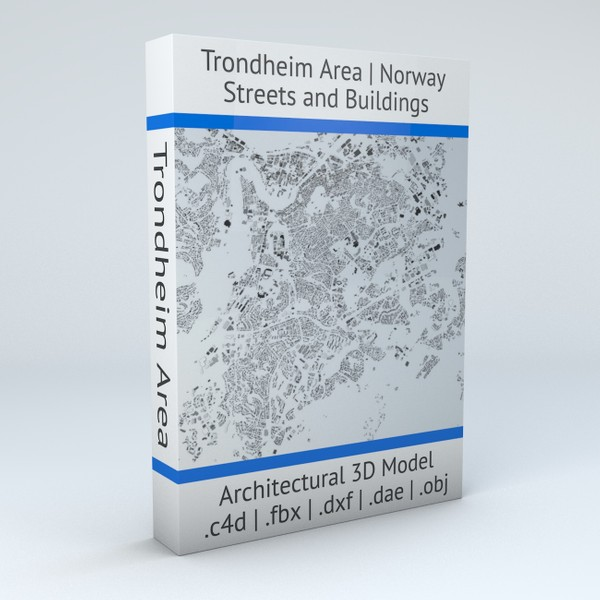 Trondheim Area Streets and Buildings Architectural 3D model