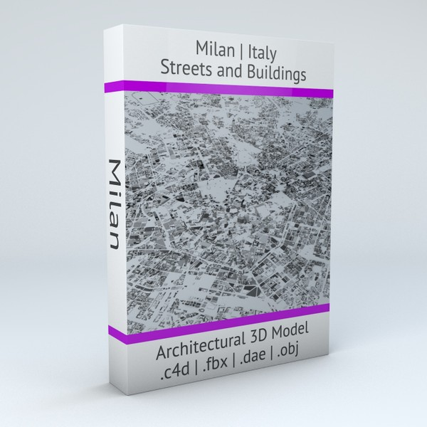 Milan Streets and Buildings Architectural 3D Model