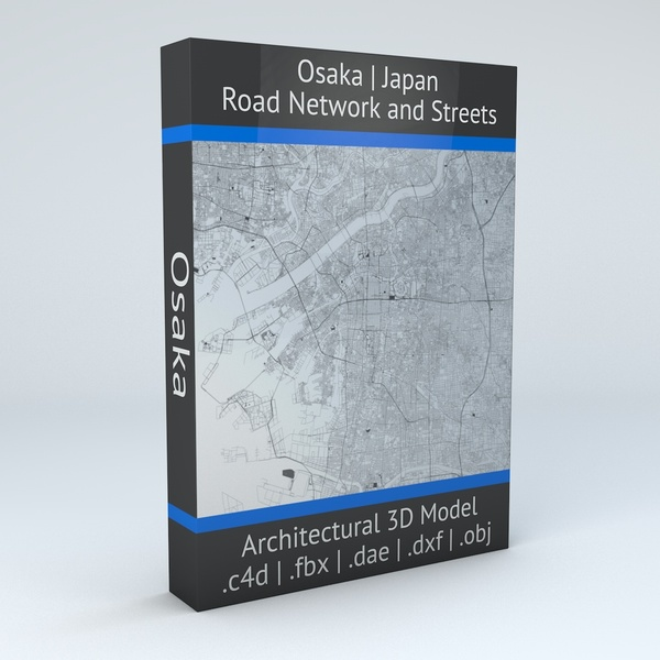 Osaka Road Network and Streets Architectural 3D model