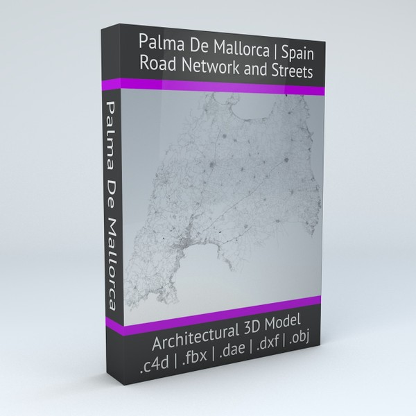 Palma De Mallorca Road Network and Streets Architectural 3D model