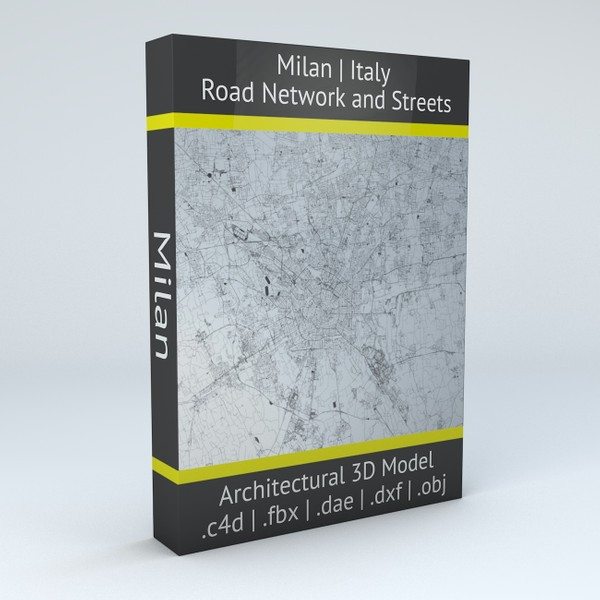 Milan Road Network and Streets Architectural 3D model