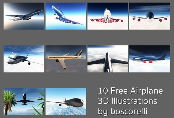 10 Free Airplane Illustrations
