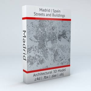 Madrid Streets and Buildings Architectural 3D Model