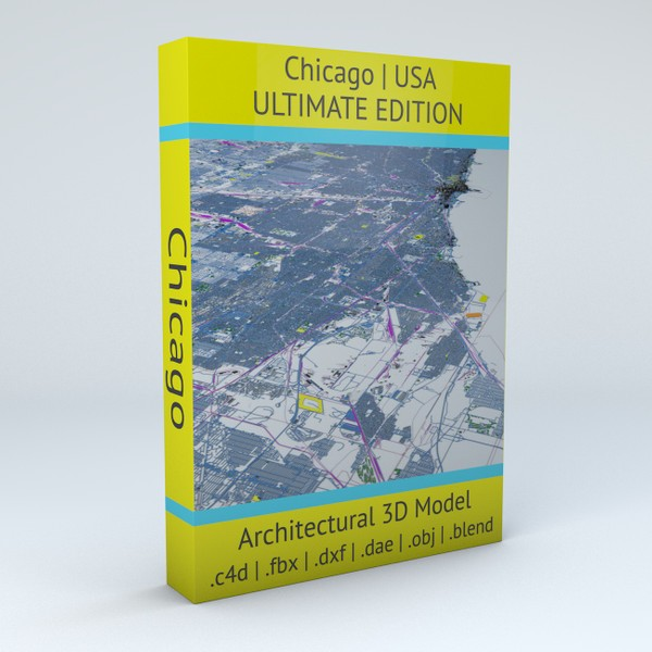 Chicago Streets Buildings Transport Sport Airports Ultimate 3D model