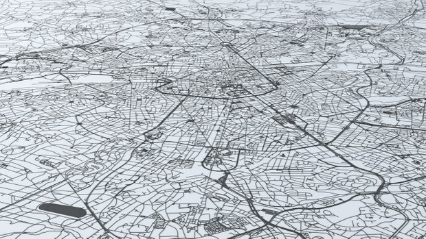 Brussels Road Network and Streets Architectural 3D model