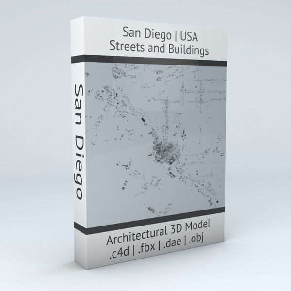 San Diego Downtown Streets and Buildings Architectural 3D Model