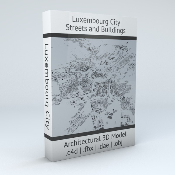 Luxembourg City Streets and Buildings Architectural 3D Model