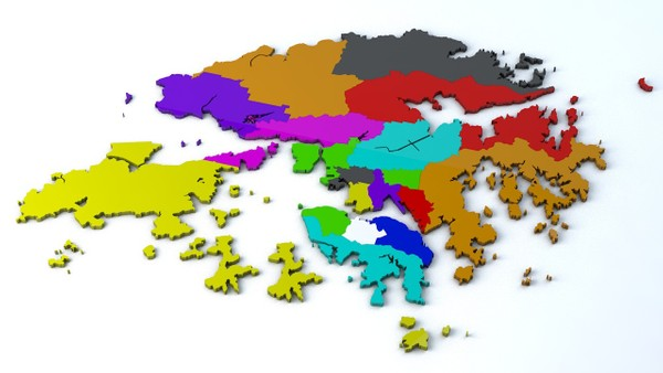 Hong Kong 18 Districts Geographical 3D Model