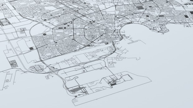 Doha Road Network and Streets Architectural 3D model
