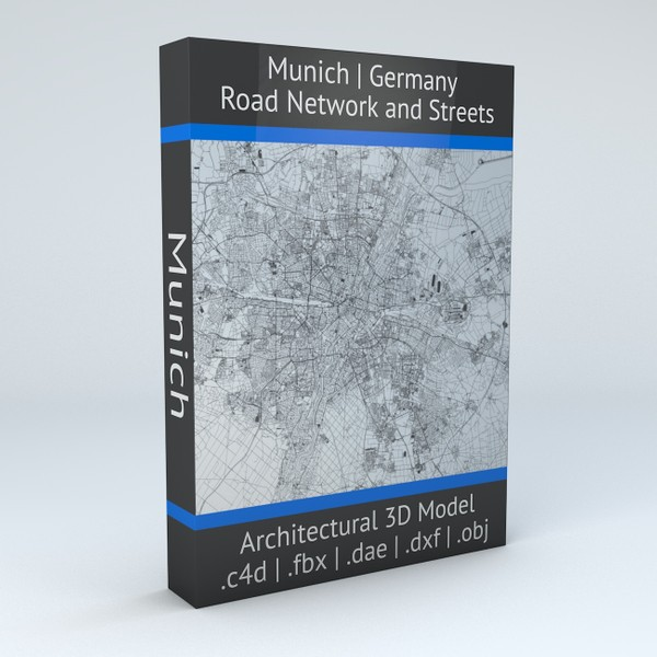 Munich Road Network and Streets Architectural 3D model