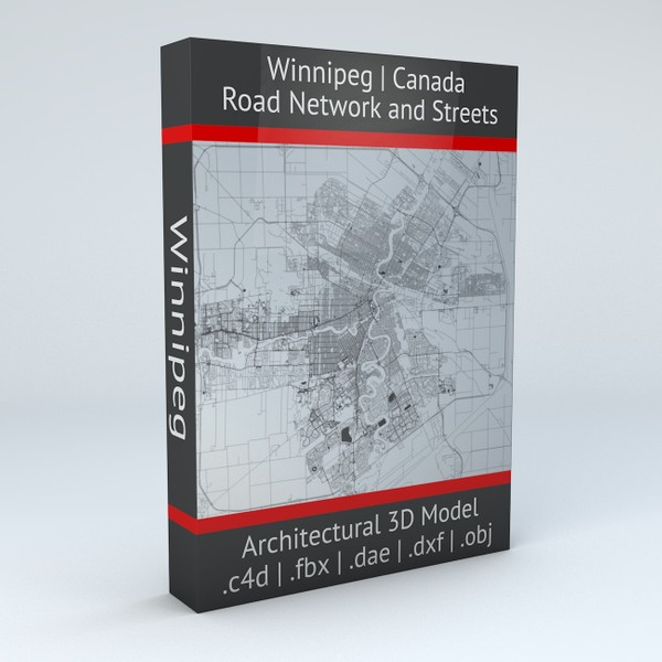 Winnipeg Road Network and Streets Architectural 3D model