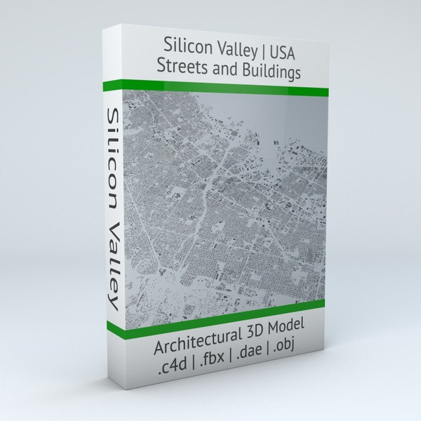 Silicon Valley Streets and Buildings Architectural 3D Model