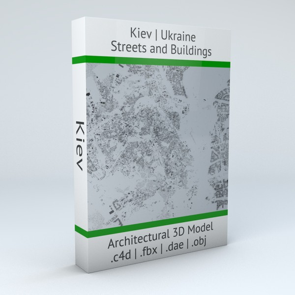 Kiev Streets and Buildings Architectural 3D Model