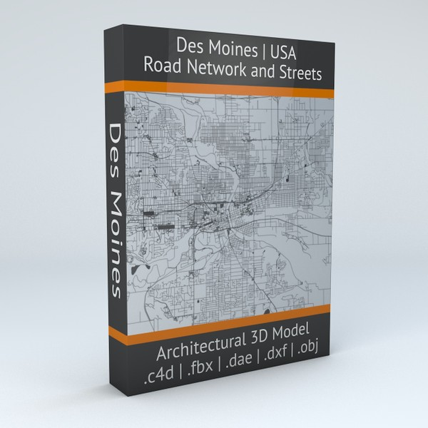 Des Moines Road Network and Streets Architectural 3D model