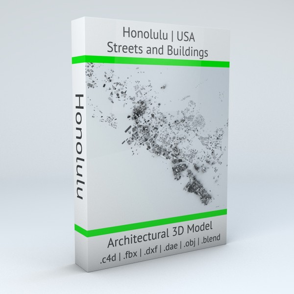 Honolulu Streets and Buildings Architectural 3D model