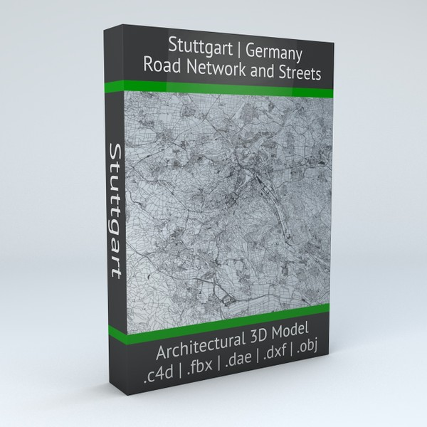 Stuttgart Road Network and Streets Architectural 3D model