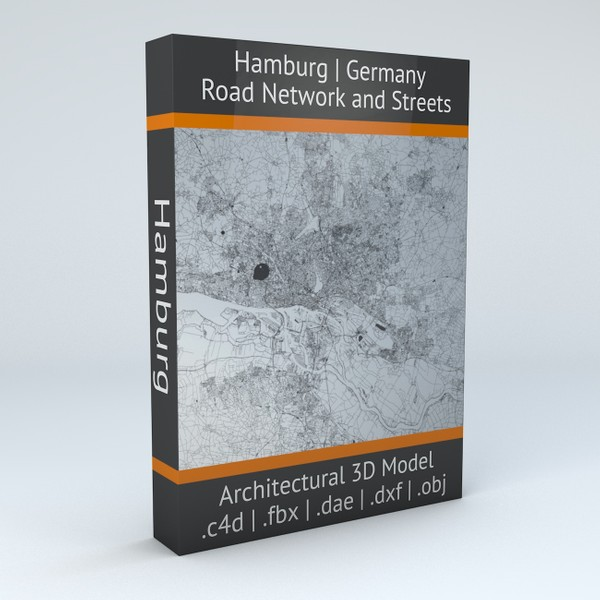 Hamburg Road Network and Streets Architectural 3D model