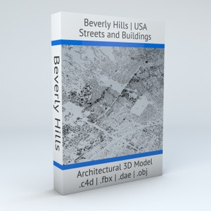 Beverly Hills Streets and Buildings Architectural 3D Model