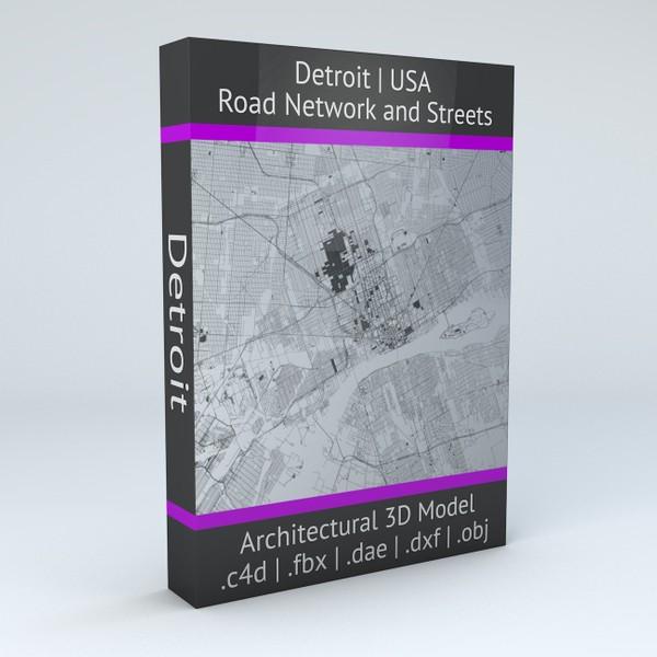 Detroit Road Network Architectural 3D Model