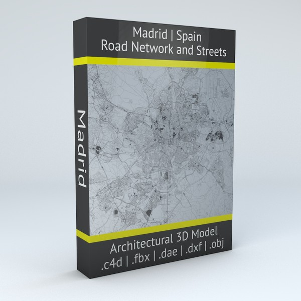 Madrid Road Network and Streets Architectural 3D model