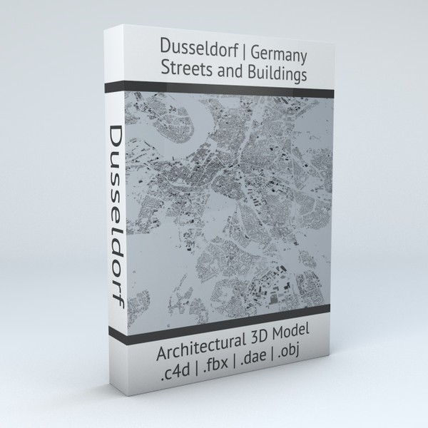 Dusseldorf Streets and Buildings Architectural 3D Model