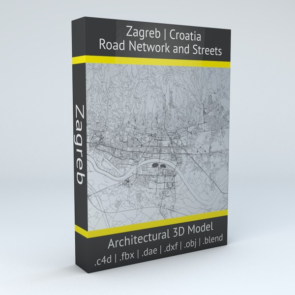 Zagreb Road Network and Streets Architectural 3D model
