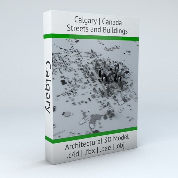 Calgary Streets and Buildings Architectural 3D Model
