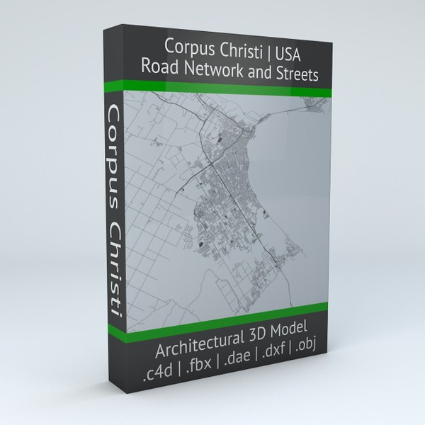 Corpus Christi Road Network and Streets Architectural 3D Model